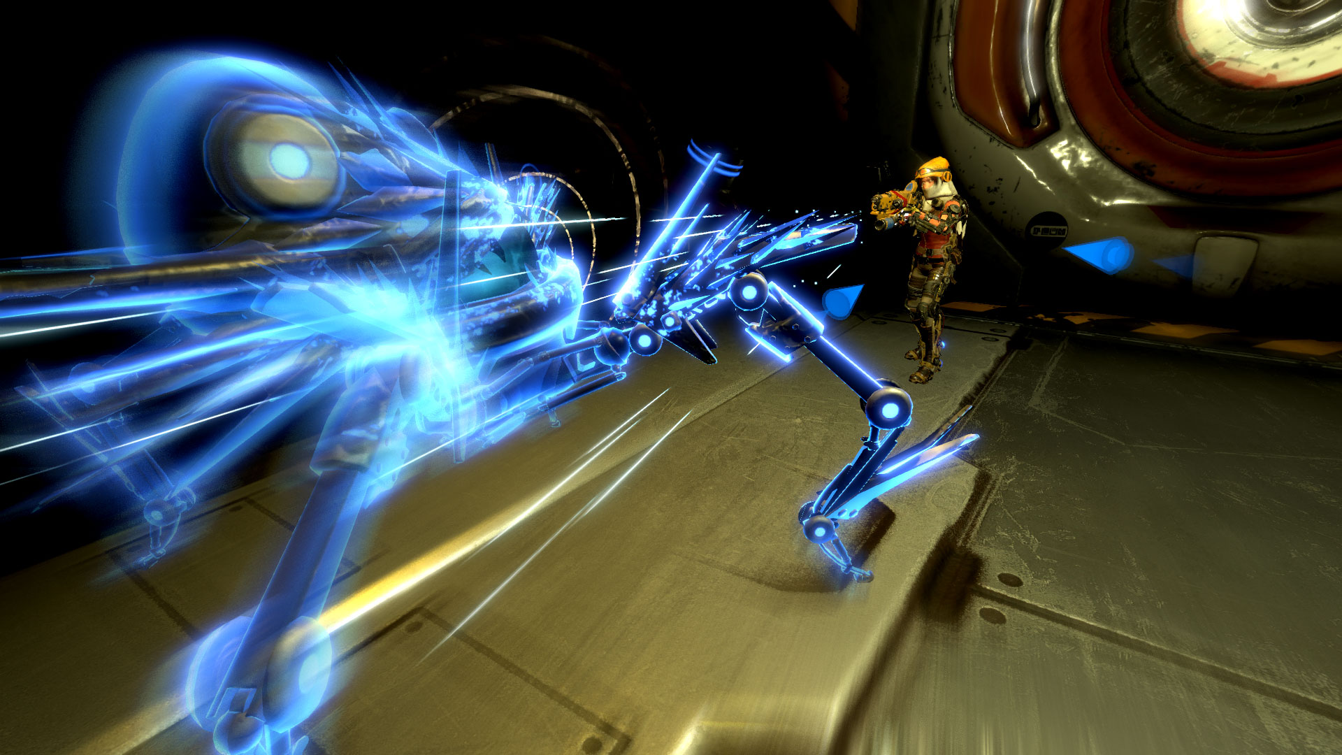 ReCore combat shot - blue enemy